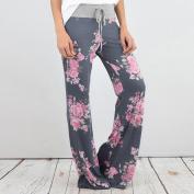 Women Wide Leg Pants,Enjocho Summer Laies Floral Prints Drawstring Fashion Loose Mid Waist Leggings