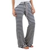 Women Wide Leg Pants,Enjocho Summer Laies Stripe Prints Drawstring Fashion Loose Mid Waist Leggings