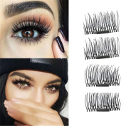 Magnetic Eye Lashes,Promisen Thick Crisscross Reusable Ultra-thin 0.4mm 3D False Magnet Eyelashes Extension