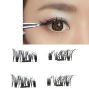 Magnetic Eyelashes,Hunzed 4pcs Natural Ultra-thin 0.5mm Eyelashes 3D Reusable False Magnet Eye Lashes Extension