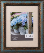 Gallery Solutions 11X14 Distressed Turquoise W/Antique Gold Accent and 8X10 Linen Matting Frame, Blue
