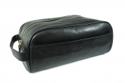 Polo Ralph Lauren Mens Travel Toiletry Lavatory Accessory Bag Leather Black Gold