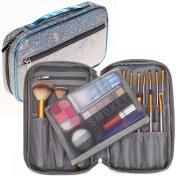 Bysiter Professional Cosmetic Makeup Brush organiser Bag Makeup Artist Case with Belt Strap Holder Mesh Bag Multifunctional Cosmetic Makeup Bag Handbag for Travel & Home