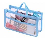 WODISON Travel Tote Clear Cosmetic Makeup Handbag Insert Purse Organiser Bag in Bag Blue