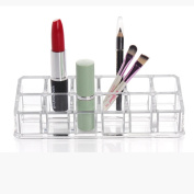 LOUSHI Clear Acrylic Trapezoid 12 Lattices Lipsticks Cosmetic Organiser display