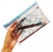 WODISON Blue Twinkling Star Cosmetic Bag Zippered Transparent Makeup Case Pocket Bag in Bag