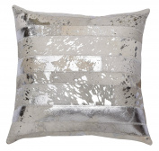 Matador 46cm Silver Leather Hide Hair On Pillow