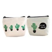 Coobbar 2pcs Cosmetic Bags Women Girls Cute Fashion Bag Change Pouch Holder