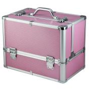 go2buy Pro Aluminium Beauty Case Cosmetic Box Organiser Case with Key Lock Design,Pink