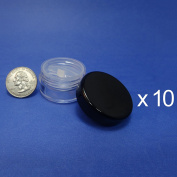 10 Pcs Made in Taiwan Travel Size Sifter Loose Powder Plastic Jar with Rotating Sifter & Black Lid