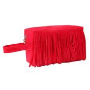 Fleece Fabric Organiser Toiletry Bag Beauty Case Kits Cosmetic Bag Red