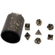 MagiDeal 7 Pieces Black Multi Sided D4-D20 Dice with 1 Dice Cup for Dungeons & Dragons D & D TRPG Warhammer Party Roleplaying Game Toys