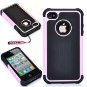 ATC Masione(tm) Pink/black Triple Defender Layer Hybrid Combo Hard Case Cover Soft Gel Skin for Iphone 4 4s 4th with Screen Film Protectors & Stylus