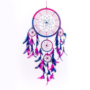 Pink Pineapple // Dream Catcher Handmade Traditional Royal Blue, Pink, Purple 22 Centimetre Diameter 60 Centimetres Long