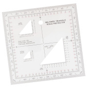 MagiDeal 13cm x 13cm Coordinate Scale Protractor Grid Reader GTA Topographic Map Scale for Map Reading