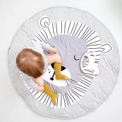 Hiltow Kids Rugs Cartoon Lion Baby Quilted Round Play Mats Children Developing Blankets Crawling Rug Carpet For Kids Room Decoration