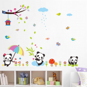 BIBITIME Raining Day Umbrella Panda Wall Decal Birds Tree Branch Hanging Birdcage Green Bamboo Leaves Mushroom Flower Butterflies Vinyl Sticker for Nursery DIY Art Mural