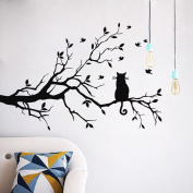 Wall Sticker , Cat On Long Tree Branch Wall Sticker Animals Cats Art Decal Kids Room Decor