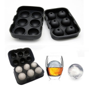 Durable Sphere Ice Mould, 6 Ice Cube Balls, Silicone Ice Ball Maker Tray, Keeps Drinks Cold For Longer, Perfect for Gin Glasses, Whiskey, Cocktail, Liquor, Party and Any Drink-100% BPA Free, Black
