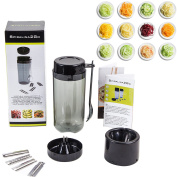 Spiralina2Go - vegetable Spiraliser with 5 cutting tools to make Spaghetti / julienne, tagliatelli & spiral ribbons from vegetables for stir-fries, salads and pasta dishes + Fork Spoon, Container, Hand Guard, FREE Recipe Ideas.