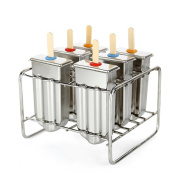Stainless Steel Popsicle Mould with 50 PCS Stick Holder, BAFFECT® Ice Lolly Maker Ice Cream Mould set of 6