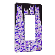 1 Gang Rocker Wall Plate - Purple Camo Camouflage Kitties Abstract Cat Art by Denise Every