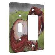2 Gang Single Toggle / Single Duplex Rocker Wall Plate - Strawberry Roan Gypsy Cob Stormy Day Horse Art by Denise Every
