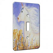 Single Gang Toggle Switch Wall Plate - Unicorn Stallion with Prairie Wildflowers Fantasy Horse Art by Denise Every