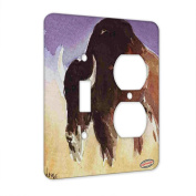 2 Gang Single Toggle / Single Duplex Wall Plate - American Bison Buffalo Matriarch Wildlife Art by Denise Every