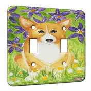 Double Gang Switch Wall Plate - Welsh Corgi with Purple Clematis Dog Art by Denise Every