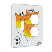 2 Gang Single Toggle / Single Duplex Wall Plate - Black Spotted Mice with Candy Corn Kitties Abstract Cat Art by Denise Every