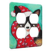 2 Gang AC Outlet Wall Plate - Welsh Corgi in Santa Hat and Scarf Christmas Dog Art by Denise Every