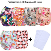 6pcs+6 INSERTS Adjustable Reusable Lot Baby Washable Cloth Nappy Nappies (girl colour G) …