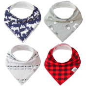 "Baby Bandana Drool Bib 4 Piece Set, Best for Teething and Drooling, Absorbent and Soft, ""The Logan Pack"" for Boys and Girls by Buddies + Bear, 100% Organic Cotton + Polyester Fleece, Registry Gift"