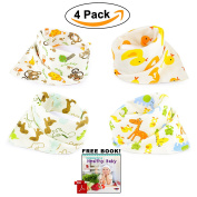 ABI Kids Anti-Smell Anti-Bacterial Quick Dry Avoids Drool RashCotton Bandana Baby Bibs with Nickel-Free Snaps, 4-Pack