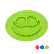 Premium Baby Kids Placemats with Smiling Face Divided Suction - Non-slip Silicone Mat for Baby Feeding - Portable No Mess Toddler Baby Plate