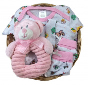 Sunshine Gift Baskets - Bambini Pink Baby Girl Outfit with a Pink Bear Rattle