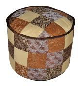 Designer Decorative Silk Round Ottoman Cover 17 X 43cm X 33cm