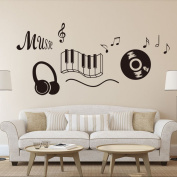 Dnven (70cm w X 60cm h) New Design Music Notes Keyboard Headphone Record Wall Stickers Quotes Vinyl Wall Decals Decors Art Stickers for Couple Room Kids Room Bedrooms Music Rooms