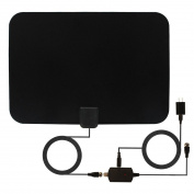 TV Antenna, Reignet 50 Mile Range Amplified Indoor HDTV Antenna with Detachable Amplifier Signal Booster and 5m Coax Cable - Black