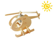 P230 3D Wooden Puzzle helicopter, Solar Powered Toy, 13 wood pieces