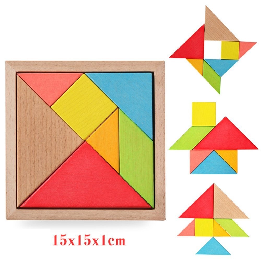 YSMYWM 7-piece Big Tangram Puzzles Children Puzzle Wooden