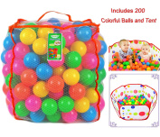 Joyin Toy Pack of 200 Plastic Pit Balls with Foldable Ball Pit Playpen – BPA Free 6 Bright Colours Pit Balls with Ball Pit Tent in Reusable and Durable Storage Mesh Bag with Zipper