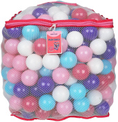 """Click N' Play Value Pack of 200 Crush Proof Plastic Play Balls, Phthalate Free BPA Free, 5 Pretty Feminine Colours in Reusable Mesh Storage Bag with Zipper-""""LITTLE PRINCESS EDITION"""""""