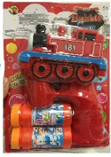 Brand New Novelty RED TRAIN ENGINE toy Bubble Gun with Sound, 2 Bubble Bottles and Batteries