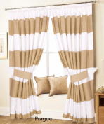 "Love2Sleep PAIR OF PENCIL PLEAT LINED THERMAL STRIPED CURTAINS WITH TIEBACKS –WHITE AND BEIGE – 46"" X 72"" –PRAGUE"