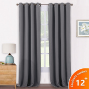 Window Treatment Eyelet Blackout Curtains - PONY DANCE Thermal Insulated Blackout Curtains Curtains Curtains Room Darkening for Bedroom / Windows Drapery, Wide 140cm by Depth 240cm , 2 panels, Grey