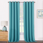 Thermal Eyelet Blackout Window Curtains - PONY DANCE Soft Polyester Thermal Insulated Window Treatment Blackout Curtain / Drape for Patio Room Darkening & Energy Saving, 2 Pcs, 140cm Wide x 240cm Long, Teal