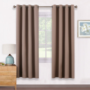 Thermal Insulated Eyelet Blackout Curtains - PONY DANCE Energy Saving Room Darkening Home Decoration Eyelet Blackout Curtains for Nursery / Windows Treatment Drapes, 2 Pcs, 140cm Width x 180cm Length, Khaki