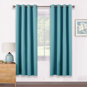 Window Treatment Eyelet Blackout Curtains - PONY DANCE Double Pieces Blackout Curtain Drapery for Living Bedroom / Room Darkening & Noise Reduicing, Width 140cm x Depth 180cm , Teal